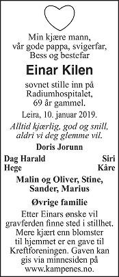 Einar Kilen Dødsannonse