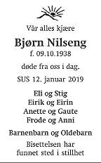 Bjørn  Nilseng Dødsannonse