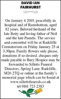 David Ian Fairhurst Death notice