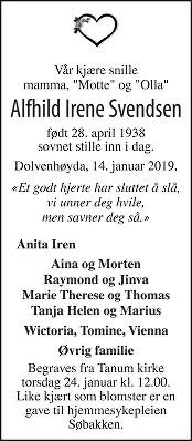 Alfhild Irene Svendsen Dødsannonse