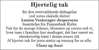 Louisa Vesterager Jespersen Death notice