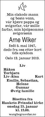 Arne Wiker Dødsannonse