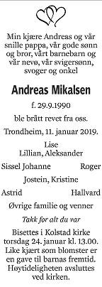 Andreas Mikalsen Dødsannonse