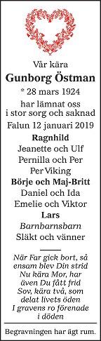 Gunborg Östman Death notice