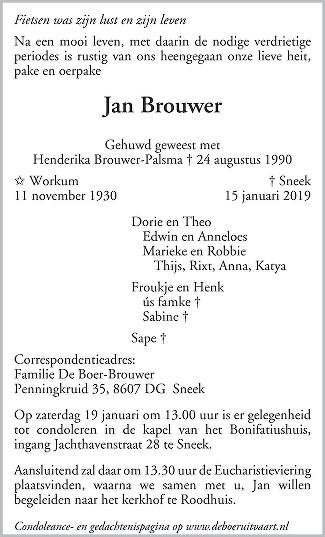 Jan Brouwer Death notice