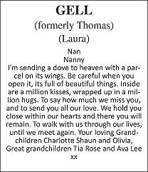 Laura Gell Death notice
