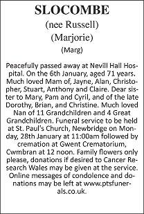 Marjorie Slocombe Death notice