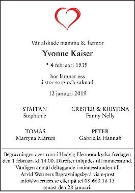 Yvonne Kaiser Death notice