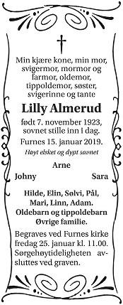 Lilly Almerud Dødsannonse