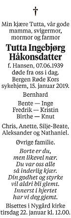 Tutta Ingebjørg Håkonsdatter Dødsannonse