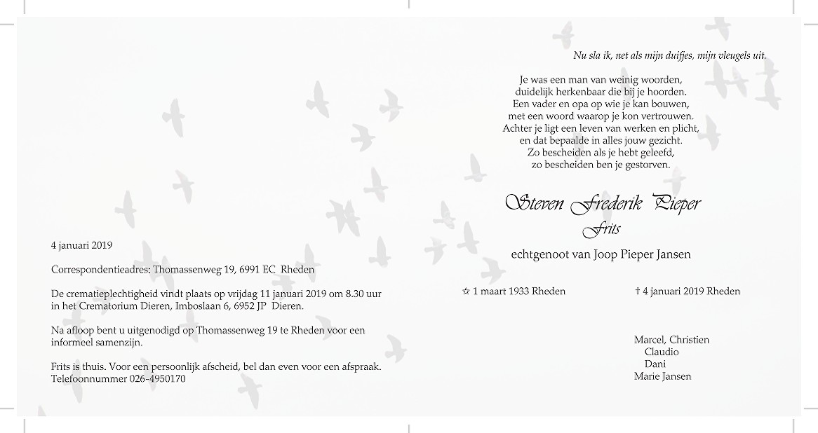 Frits Pieper Death notice