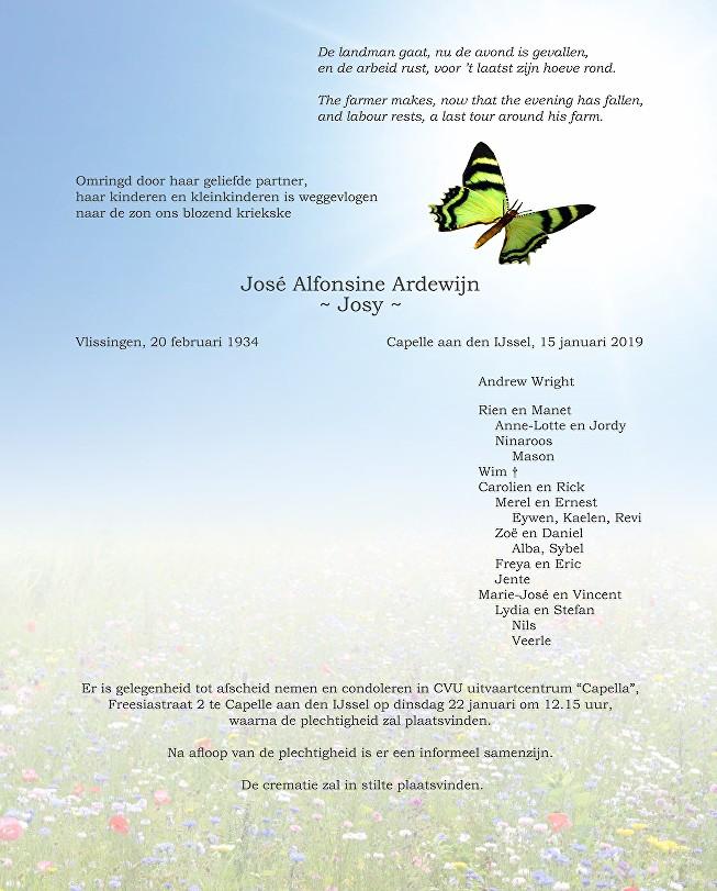 Josy Ardewijn Death notice