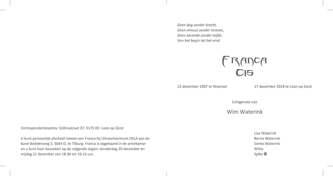 Franca Waterink van Deursen Death notice