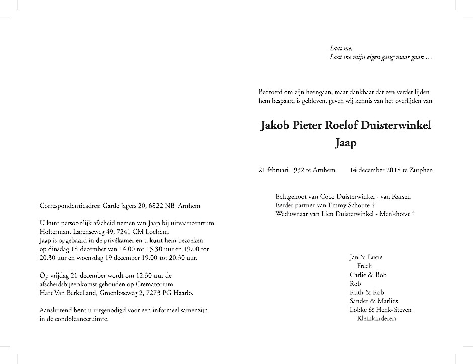 Jaap Duisterwinkel Death notice