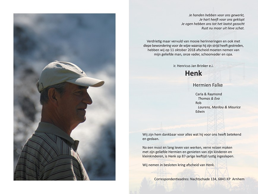 Henk Brinker Death notice