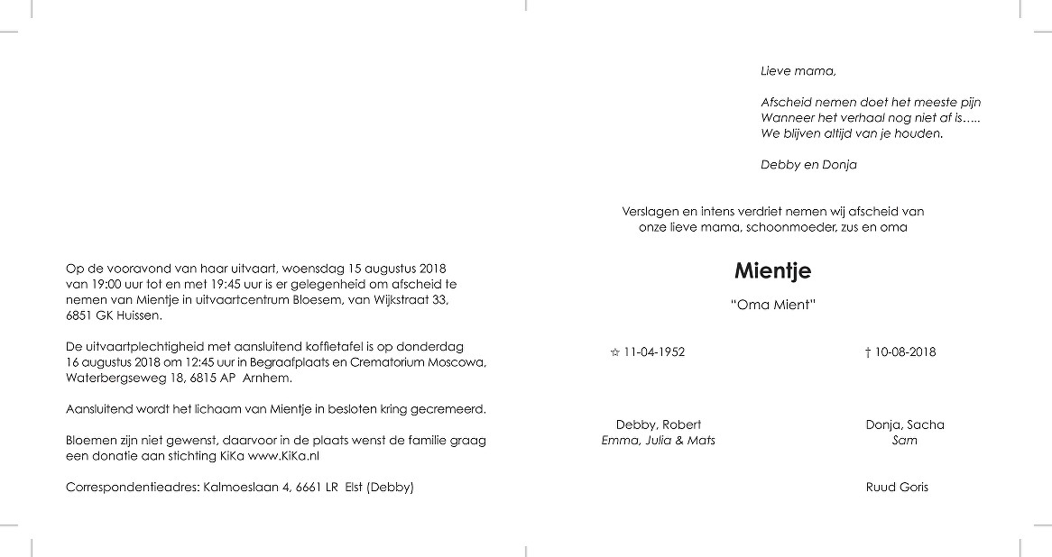 Mientje Peer Death notice