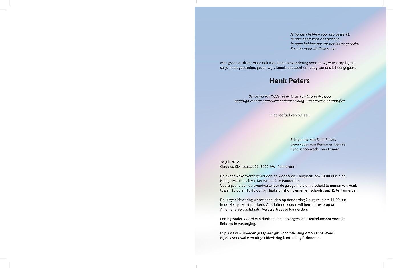 Henk Peters Death notice