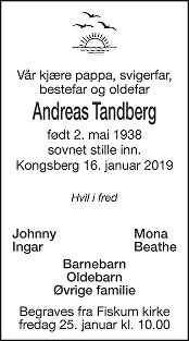 Andreas Tandberg Dødsannonse
