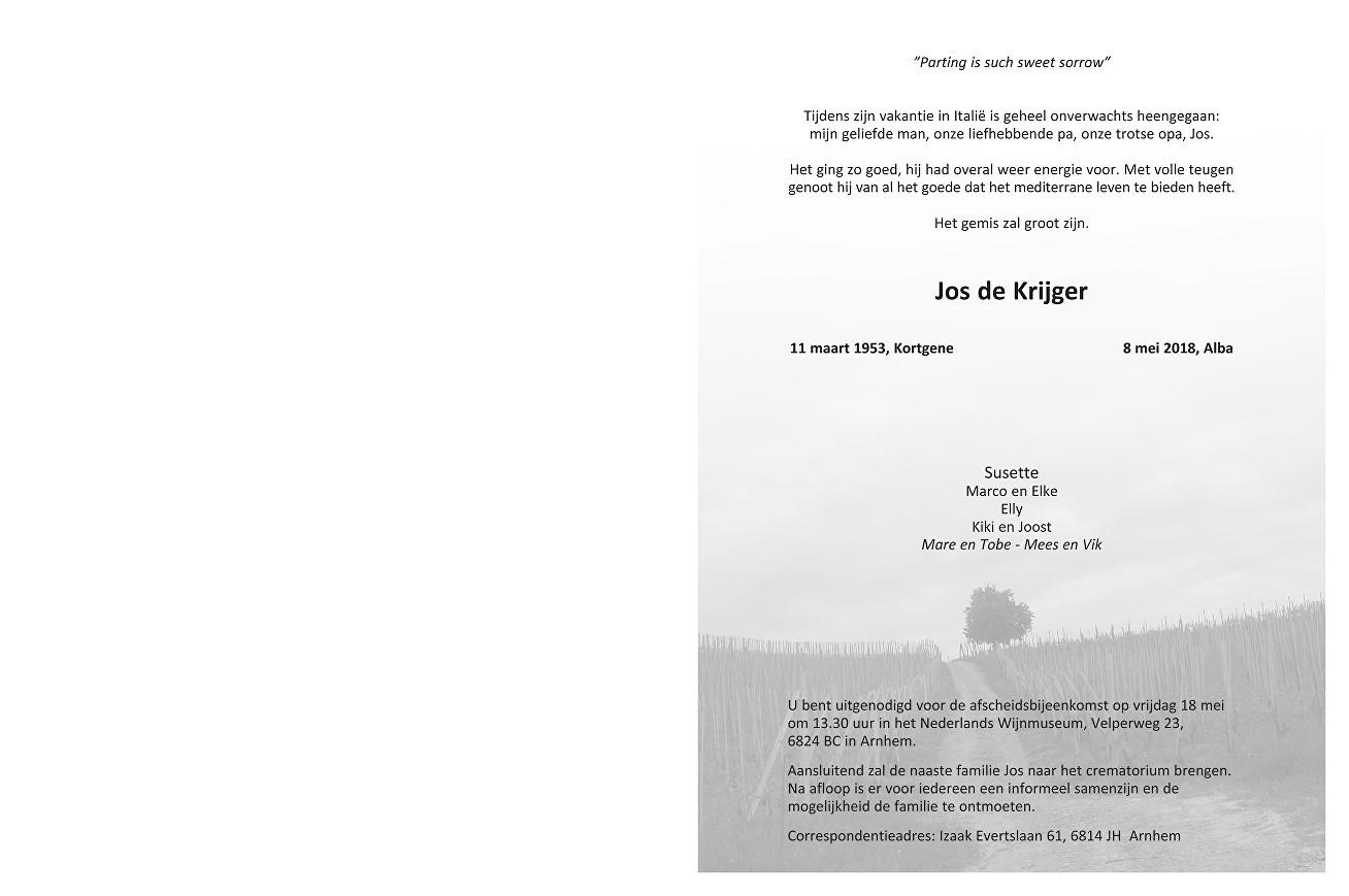 Jos de Krijger Death notice