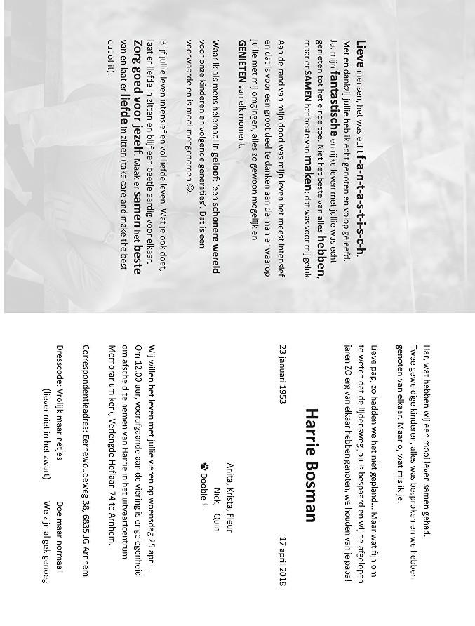 Harrie Bosman Death notice