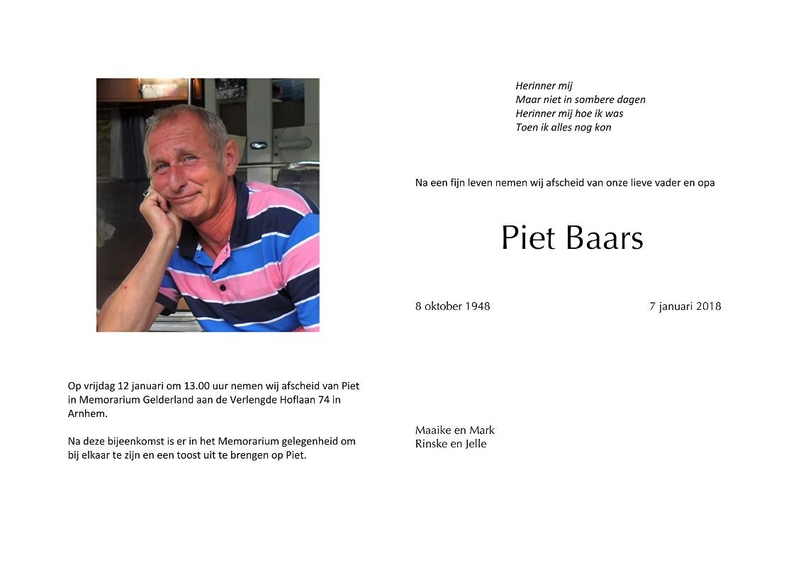Piet Baars Death notice