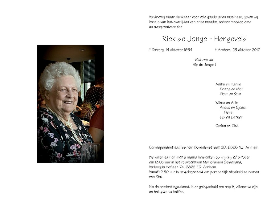 Riek Hengeveld Death notice
