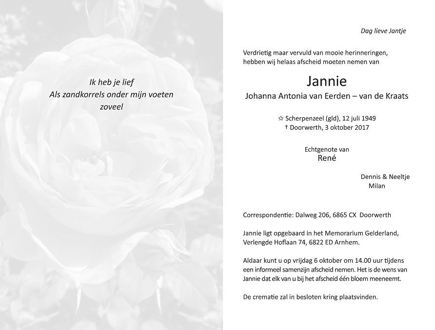 Jannie van Eerden – van de Kraats Death notice
