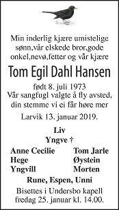 Tom Egil Dahl Hansen Dødsannonse