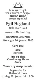 Egil Hegland Dødsannonse