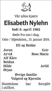 Elisabeth Nylehn Dødsannonse