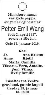 Petter Emil Wang Dødsannonse
