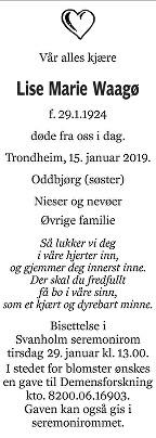 Lise Marie Vaagøy Dødsannonse
