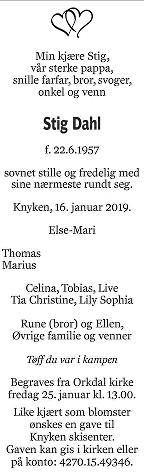 Stig Dahl Dødsannonse
