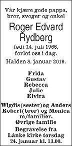Roger Edvard Rydberg Dødsannonse
