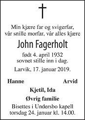 John Fagerholt Dødsannonse