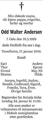 Odd Walter Andersen Dødsannonse