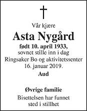 Asta Nygård Dødsannonse