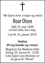 Roar Olsen Dødsannonse