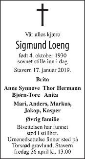 Sigmund Loeng Dødsannonse
