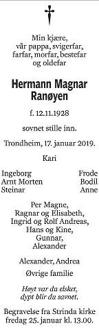 Herman Magnar Ranøyen Dødsannonse