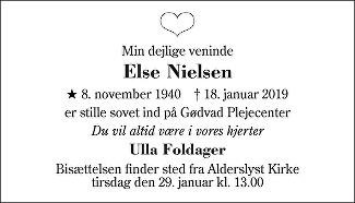 Else Nielsen Death notice