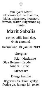 Marit Sabalis Dødsannonse