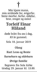 Torleif Einar Håland Dødsannonse