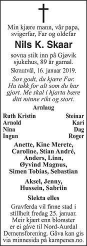 Nils K. Skaar Dødsannonse