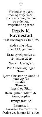 Perdy Karin Ravnestad Dødsannonse