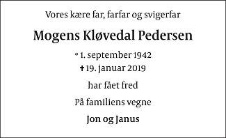 Mogens Kløvedal  Pedersen Death notice