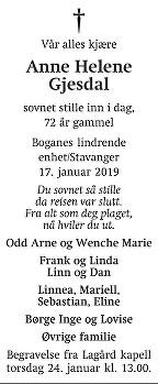 Anne Helene Gjesdal Dødsannonse