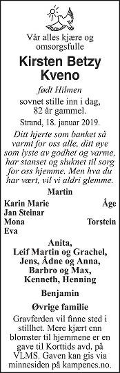 Kirsten Betzy Kveno Dødsannonse