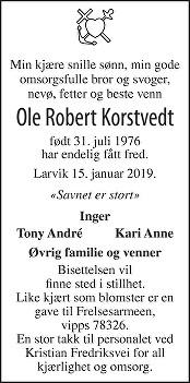 Ole Robert Korstvedt Dødsannonse