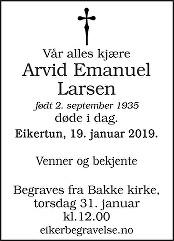 Arvid Emanuel Larsen Dødsannonse